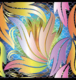 colorful leafy baroque 3d seamless pattern vector image vector image