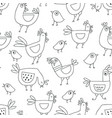 Cute cartoon rooster seamless pattern doodle style