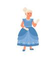 cute girl wearing cinderella carnival costume vector image