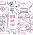 cute pattern with doodle sweet mason jars vector image vector image