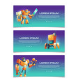 cybernetic organisms cartoon web banners vector image