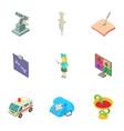 epidermis icons set isometric style vector image vector image