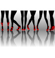 Female legs silhouettes with red shoes vector image