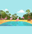 flamingo park pink exotic birds on lake camping vector image vector image