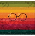 Glasses label on colorful retro background vector image vector image