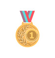 gold medal with ribbon sport game award 1st place vector image vector image