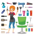 Hairdresser barber girl vector image