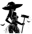 halloween pin-up witch vector image