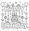 happy birhday coloring page vector image vector image