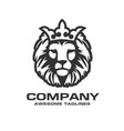 head a lion with a royal crown vector image vector image