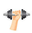 heavy dumbbell to train muscules in strong human vector image vector image