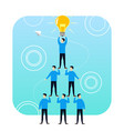 high tower of successful people idea lamp vector image