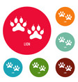 lion step icons circle set vector image vector image