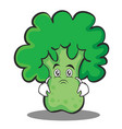 moody broccoli chracter cartoon style vector image vector image