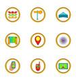 navigator icons set cartoon style vector image vector image