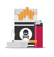 pack of cigarettes with black skull and burning vector image