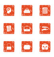 paper document icons set grunge style vector image