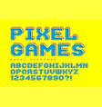 pixel font design stylized like in 8-bit games vector image vector image