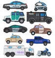 police car policy vehicle and motorbike or vector image vector image