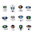 robots androids heads with faces on screen vector image