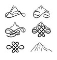 set icons mountains with sign infinity vector image