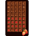 Set of chocolate bars with icons of food and vector image vector image