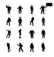 silhouettes cosmonauts set collection vector image