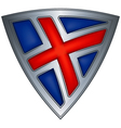 steel shield with flag iceland vector image