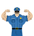 Strong power police officer large man in police vector image vector image