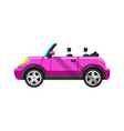 stylized pink convertible sports car image vector image