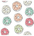 sweet cartoon colorful donuts seamless pattern vector image vector image