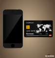 Touchscreen device with credit card vector image