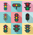 traffic lights icon set flat style vector image