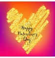 Valentines day greeting on gold heart vector image vector image