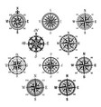 vintage compass and wind rose isolated symbol set vector image