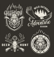vintage monochrome hunting logotypes vector image vector image