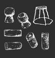 whie hand-drawn set corks on dark background vector image vector image