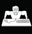 white outline drawing of an angry gamer at the vector image vector image