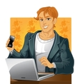Young men with phone and laptop on vector image vector image