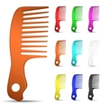 Set of multicolored hairbrushes vector image