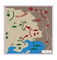 The tactical map with detailed icons vector image