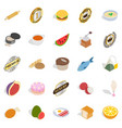 fast food icons set isometric style vector image