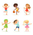 kids playing in active games vector image