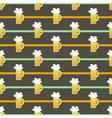 Seamless pattern orange glass beer mug on a brown vector image