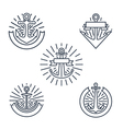 Vintage anchors linear logo set or line nautical vector image