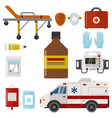 ambulance icons medicine health emergency hospital vector image