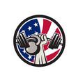 american hand barbell kettlebell usa flag vector image vector image