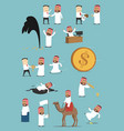 arabian businessman activities cartoon set vector image