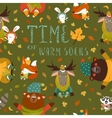 Autumn forest seamless pattern with cute animals vector image