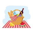 basket with breads and water bottles in the vector image vector image